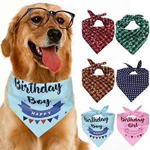 GoChes Dog Birthday Bandana, Dog Bandanas Birthday Gifts for Dog Girls and Boys, Square Double Layered Dog Kerchief Bandanas for Small, Medium, Large Dogs, 1PC,Blue