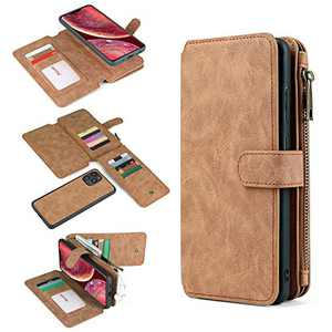 Wallet Case Compatible with iPhone 12 Pro Max Case, 2-in-1 Leather Zipper Magnetic Removable Case 14 Card Slots iPhone 12 Pro Max Wallet Case 6.7 inch (Brown)
