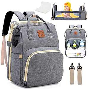 Everson Babies, Baby Diaper Bag Backpack with Changing Station, Waterproof Travel Bag, Nappy Bag with Insulated Pockets for Mom and Dad, Diaper Bag Backpack for Baby Boy and Baby Girl, Dark Grey