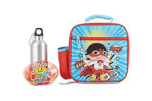 Ryan's World 3 Piece Lunch Box Set with Stainless Steel Water Bottle and Ice Pack for Boys, Insulated and Waterproof Lunch Bag with All Around Zipper, Toddler's Bag for Snacks, Meals and Drinks