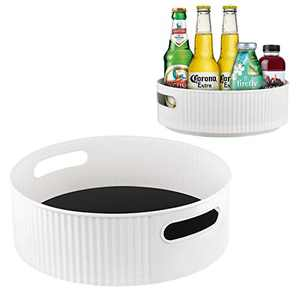 """11. 8"""" + 9"""" Dia. Anti-Skid Lazy Susan Countertop Jam Turnable Tray Fridge Cabinet Kitchen Storage Container Bathroom Cosmetic Organizer Spice Racks Rotation Undersink Pack of 2"""