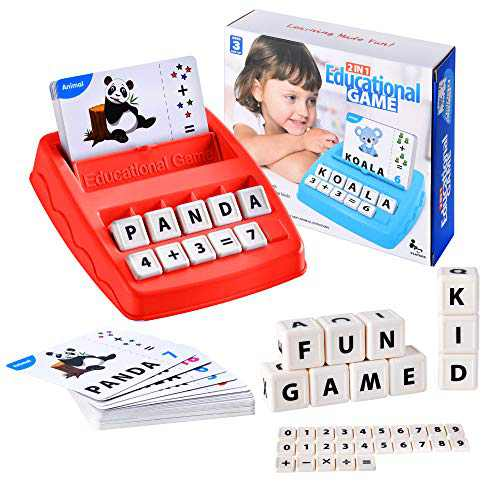 2 in 1 Matching Letter Game Learning Toys for Kids, Teaches Word Recognition, Spelling, and Increases Memory, 3 Years and Up (Red)