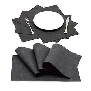 Wipeable Faux Leather Place mats Set of 4, Decor for Indoor Kitchen Dining Table, Desktop, and Outdoor Patio Table, Waterproof and Heat Resistant to Protect Wood Table (Dark Grey)