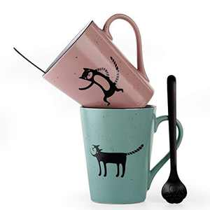 OONOL Coffee Mugs Set, 12 OZ Cat Ceramic Matte Pink and Blue Mug with Cat Paw Shape Spoon Gifts for Cat Lover