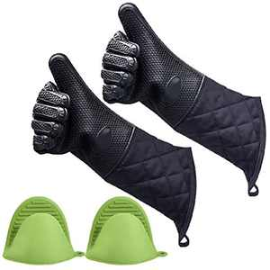 ANMAIKER Silicone Oven Gloves, Silicone Mitts Heat Resistant for Grilling, Baking, Cooking or Kitchen Use (1 Pairs Extra Long Black + 1 Pairs Mini Green)