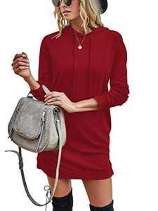 Margrine Women Pullover V-Neck Long Sleeve Kangaroo Pocket Tunic Hoodies Red 2MA65-hongse-M
