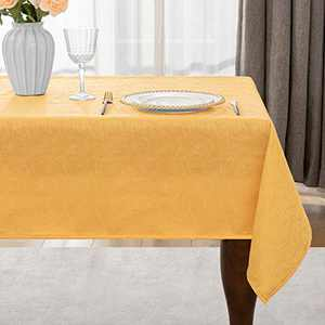 Jacquard Table Cloth Swirl Pattern Spill-Proof Wrinkle Resistant Rectangle Tablecloth, Washable Polyester Fabric Heavy Weight Tablecloths for Kitchen Dinning, 60 x 104 Inch Gold