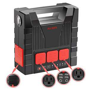 220Wh Portable Power Stations with Flashlight, IPX4 Waterproof Solar Generator with 4 USB Ports, Lithium Battery Backup for Outdoor Camping Travel Emergency (Solar Panel Not Included)