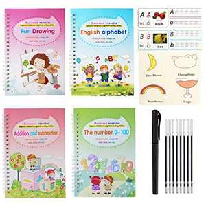 Magic Handwriting Practice Copybook Tablets Board, 4 Pcs Reusable Magic Writing Paste Workbook Sheets, Reused All English Copybook Set Calligraphy Tracing Book for with a Pen and 5 Refills