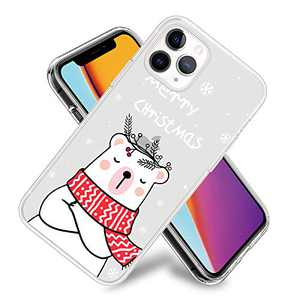 Christmas Phone Case for iPhone 11,11 Pro,11 Pro Max Flexible TPU Shockproof Protection Basic Slim Clear Case Cover(Snowflakes Polar Bear)