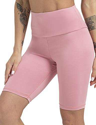 High Waisted Workout Shorts for Women Tommy Control Biker Running Yoga Shorts for Women(Pink,XL)