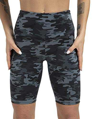 High Waisted Workout Shorts for Women Tommy Control Biker Running Yoga Shorts with Pockets for Women(DarkGrayCamo,M)