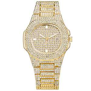 SIBOSUN Men's Fashion Iced Out Watch Luxury Diamond Oblong Wrist Watch with Stainless Steel Bracelet Blinged Out Gold Watch for Men Hip Hop Rapper