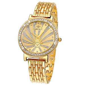 Lady Women Wrist Watch Quartz SIBOSUN Fashion Luxury Gold Stainless Steel Band Bracelet Crystal Dress Analog