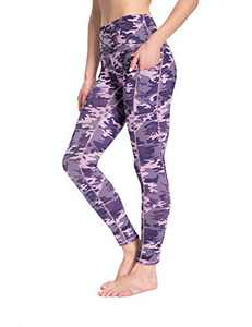 High Waist Yoga Pants for Women Tummy Control Workout Athletic Compression Leggings with Pockets for Women(PurplePinkCamo,L)