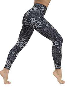 High Waist Yoga Pants for Women Tummy Control Workout Athletic Compression Leggings with Pockets for Women(DarkGaryLeopard,L)
