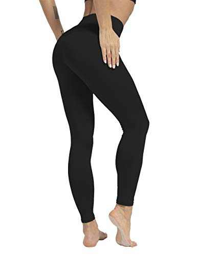 High Waisted Tummy Control Yoga Pants for Women Workout Athletic Compression Leggings for Women(Black,XL)