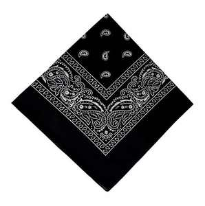 12 Pack Black Bandana, Printed Cotton Bandanas for Men and Bandanas for Women (Black)