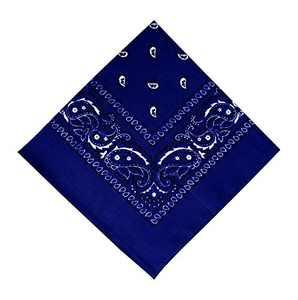 12 Pack Royal Blue Bandana, Printed Cotton Bandanas for Men and Bandanas for Women (Royal Blue)