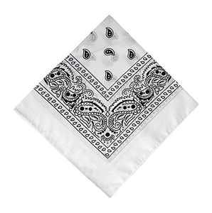 12 Pack White Bandana, Printed Cotton Bandanas for Men and Bandanas for Women (White)