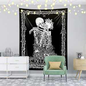 "Skeleton Wall Tapestry,Black Skull Kissing Lovers Tapestry Wall Hanging,Romantic Tarot Tapestry for Bedroom, Living Room Dorm Decoration (51.2"" x 59.1"")"
