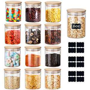 Glass Jars Set, Yibaodan 12 Set 6oz Spice Jars with Bamboo Airtight Lids and Labels, Food Cereal Storage Containers for Home Kitchen Tea Coffee Flour Herbs Grains