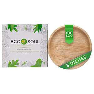 ECO SOUL 100% Compostable, Biodegradable, Disposable Palm Leaf Plates | Like Bamboo Plates, Eco-friendly 10', 8' | Sturdy, Microwave & Oven Safe | Party, Wedding, Event Plates (100, 8 inch round)