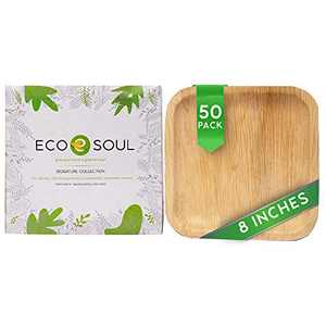 ECO SOUL 100% Compostable, Biodegradable, Disposable Palm Leaf Plates | Like Bamboo Plates, Eco-friendly 10', 8' | Sturdy, Microwave & Oven Safe | Party, Wedding, Event Plates (50, 8 inch square)