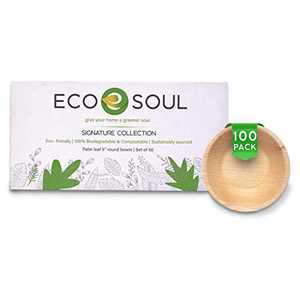 ECO SOUL 100% Compostable, Biodegradable, Disposable Palm Leaf Bowls, Like Bamboo Bowls, Eco-friendly | 5 inch round 10 oz | Sturdy, Microwave & Oven Safe | Party, Wedding, BBQ, Events (100)
