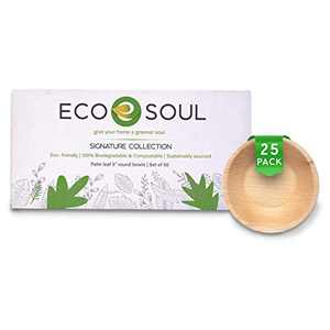 ECO SOUL 100% Compostable, Biodegradable, Disposable Palm Leaf Bowls, Like Bamboo Bowls, Eco-friendly | 5 inch round 10 oz | Sturdy, Microwave & Oven Safe | Party, Wedding, BBQ, Events (25)