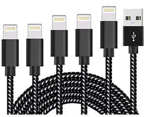 Feless Phone Charger 5 Pack [3/3/6/6/10 FT] MFi Certified USB A to Lighting Cable Nylon Braided Charging Cord Compatible with Phone Xr/12/11/8/7/6/6S/5/5S/SE/Plus/Pad