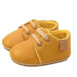 Baby Boys Girls Oxford Shoes Newborn Leather Crib Shoes Soft Rubber Sole Ankle Boots Infant Walking Moccasins (6-12 Months, Yellow)