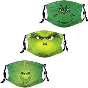 ULTPEAK The Grinch Men Women Face Mask 3PC with 6 Filter Reusable Mouth Cover Washable Balaclava Made in USA