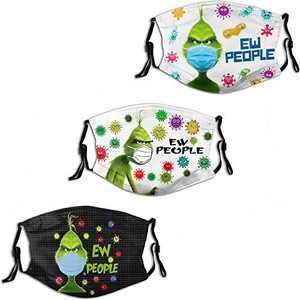 ULTPEAK Ew People The Grinch Men Women Face Mask 3PC with 6 Filter Reusable Mouth Cover Washable Balaclava Made in USA
