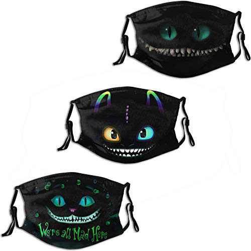 Alice in Wonderland - We are All Mad Here Men's Women's Face Mask 3PC Balaclava Mouth Cover with 6 Filter Windproof Dustproof Adjustable Elastic Strap