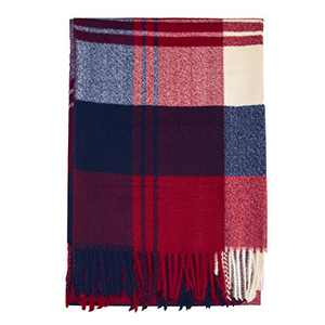 ZOMFUSK Winter Plaid Women Scarf Extra Large Thick Soft Lightweight Wool Shawl Wraps for Women