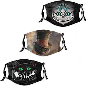Alice in Wonderland Cat Cheshire Men's Women's Face Mask 3PC Balaclava Mouth Cover with 6 Filter Windproof Dustproof Adjustable Elastic Strap