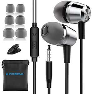 FIXSCAD Y490 Wired in-Ear Earbud Headphones Earphone, Noise Cancelling Premium Stereo Headphone Earbuds w/Mic, Ergonomic Fit, Sliver