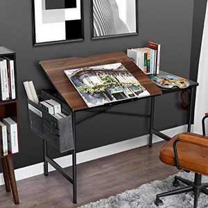 Computer Desk 47 Inch Drafting Table Home Office Desks Study Writing Adjustable Top Table with Storage Bag, Modern Simple PC Desk with Splice Board(Dark Walnut)