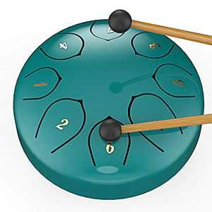 Steel Tongue Drum 8 Notes 6 inches Metal Hand Drum Kit Handpan Percussion Instrument Handpan Drum Mini Drum Set with Music Book Mallets Finger Picks, Blue