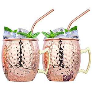 Moscow Mule Mugs, Set of 2Handcrafted Mugs Food-safe Gift Set Stainless Steel Lining Cups large-capacity 16 oz Hammered Mugs with 2 Straws for Iced Drinks, Beer Cocktail for Home and Bar