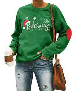 Christmas Believing Sweatshirt Women Santa Hat Pullover Funny Graphic Shirt Holiday Tops (Green, L)
