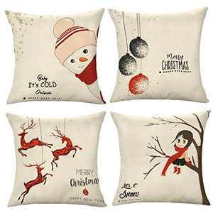 HOMEDOREMI 18x18 Pillow Cover, Christmas Pillow Cover 18x18 Set of 4, Throw Pillow Cover Christmas Decorations Christmas Pillow Covers 18x18 Set of 4, Cotton Linen Material