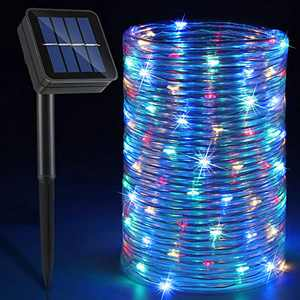 Solar Rope Lights Outdoor, 33ft 100 LED Twinkle String Lights IP65 Waterproof Tubing String Lights for Trampoline House Party Holiday Carnival Decorations