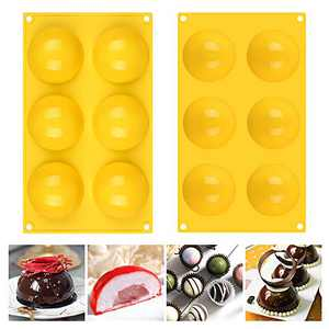 Fimary 3 Inches 6 Holes Half Sphere Silicone Molds For Chocolate, Cake, Jelly, Pudding, Food Grade Round Silicon Molds for Cake Baking (2, yellow)