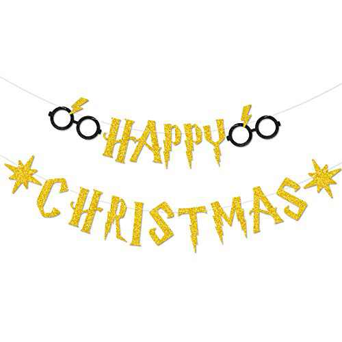 Happy Christmas Banner Gold Glitter Magical Wizard Theme Holiday Garland Decoration Photo Props Background Gift Ideas Supplies