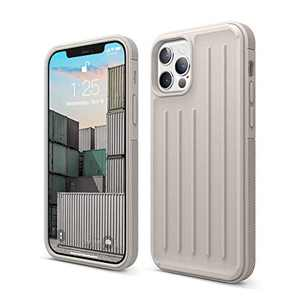 elago Protective Armor Case Compatible with iPhone 12 and Compatible with iPhone 12 Pro 6.1 Inch (Stone) - Shock Absorbing Design, Durable TPU, Wireless Charging Supported