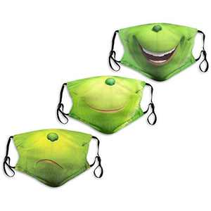Cartoon Cute The Grinch Green Smile Mouth Face Mask Washable 3PC with 6 Filters Mouth Cover Reusable Men's Women's Made in USA