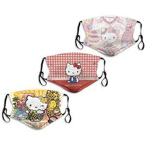Cartoon Hello Kitty Princess Plane Lace Leopard Guitar Summer Face Mask Washable 3PC with 6 Filters Mouth Cover Reusable Men's Women's Made in USA