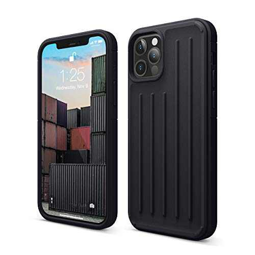 elago Protective Armor Case Compatible with iPhone 12 and Compatible with iPhone 12 Pro 6.1 Inch (Black) - Shock Absorbing Design, Durable TPU, Wireless Charging Supported